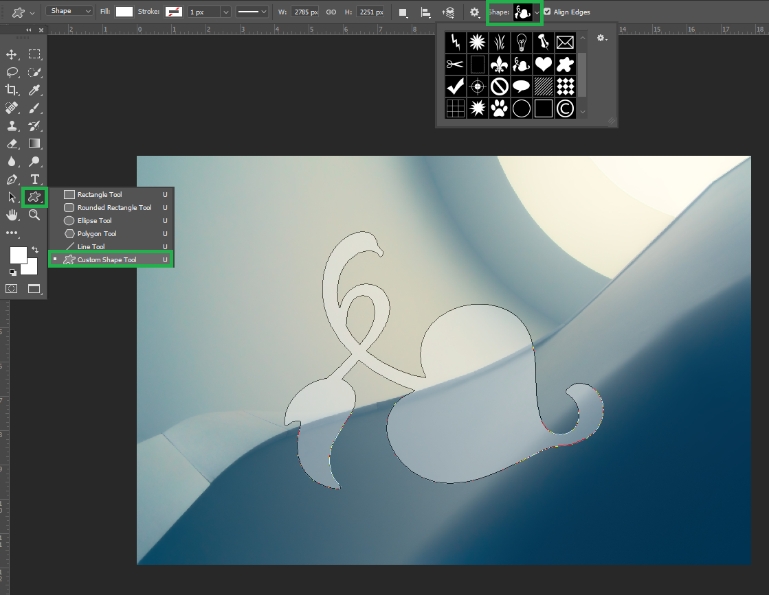 The shape tool (Cropping a layer into a specific shape)