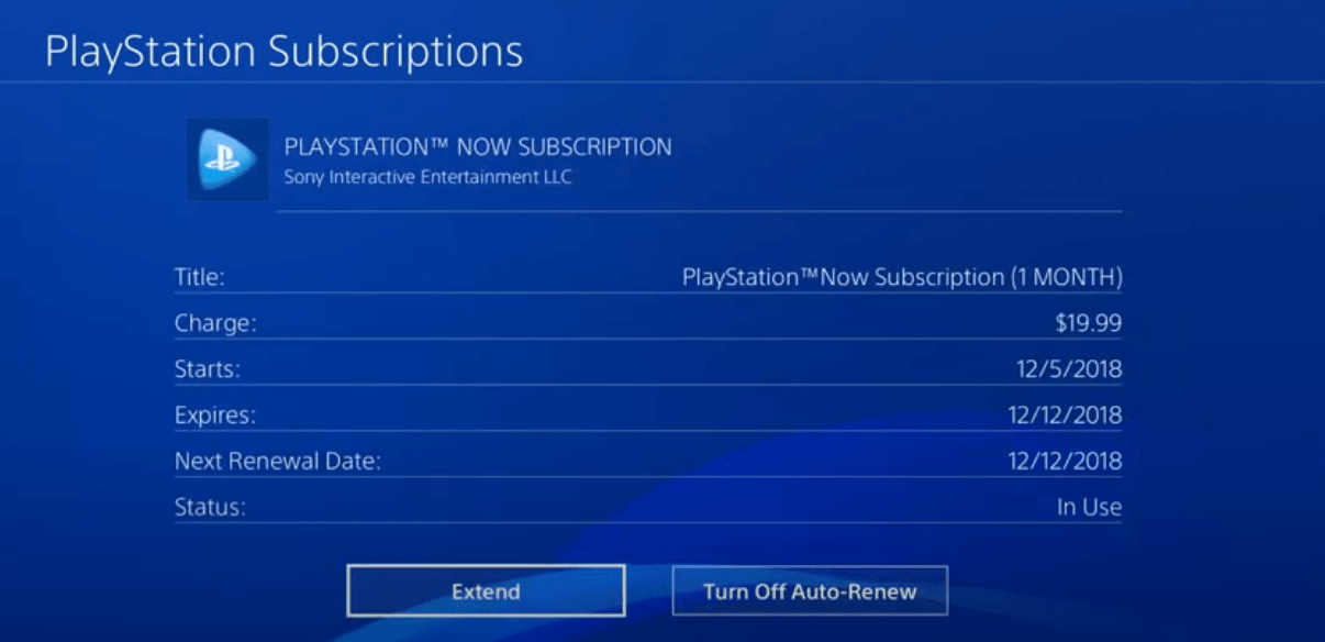 Cancel PS Now on your PlayStation 4